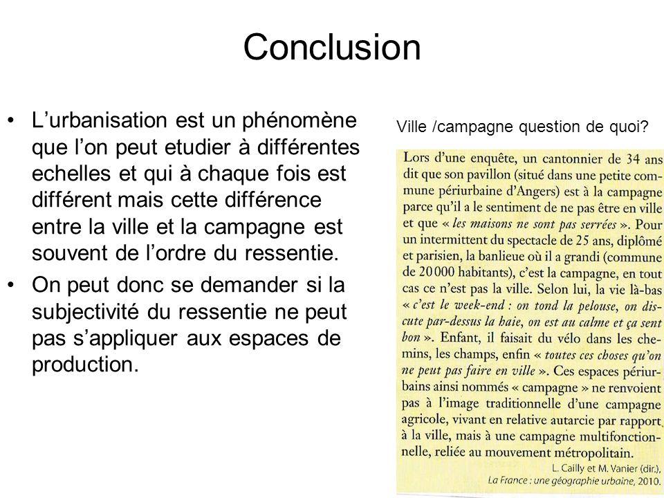 Conclusion Lurbanisation est un phénomène que lon peut etudier à différentes echelles et qui à chaque fois est différent mais cette différence entre l