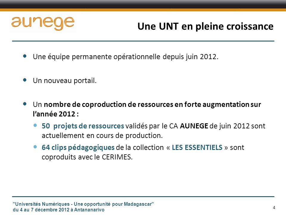 Une UNT en pleine croissance Une équipe permanente opérationnelle depuis juin 2012.