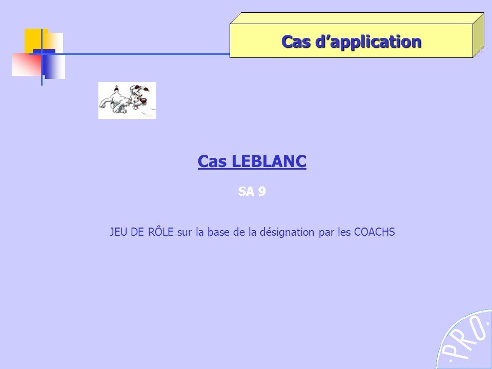 Cas LEBLANC SA 9 JEU DE RÔLE sur la base de la désignation par les COACHS Cas dapplication