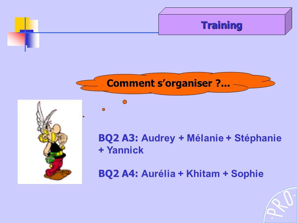 Comment sorganiser ?... Training BQ2 A3: Audrey + Mélanie + Stéphanie + Yannick BQ2 A4: Aurélia + Khitam + Sophie