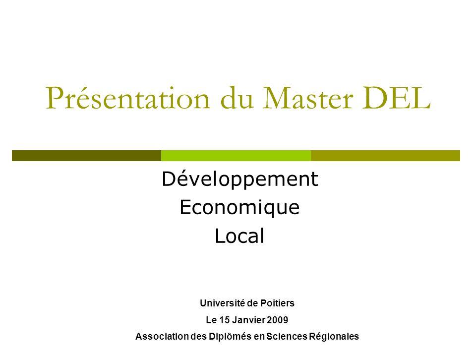 Présentation du Master DEL Développement Economique Local Université de Poitiers Le 15 Janvier 2009 Association des Diplômés en Sciences Régionales