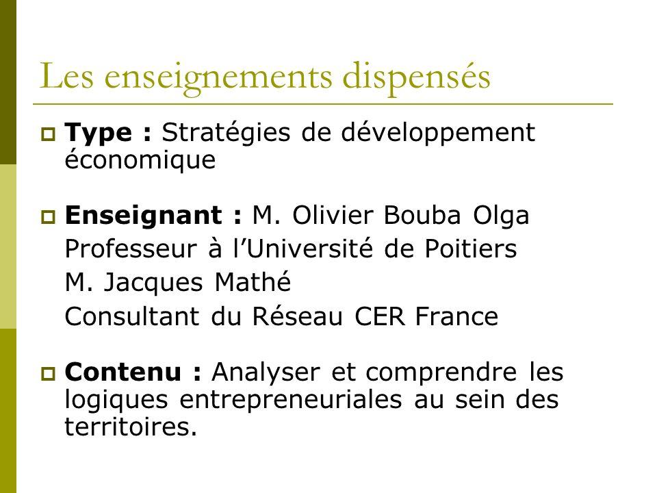 Les enseignements dispensés Type : Stratégies de développement économique Enseignant : M.