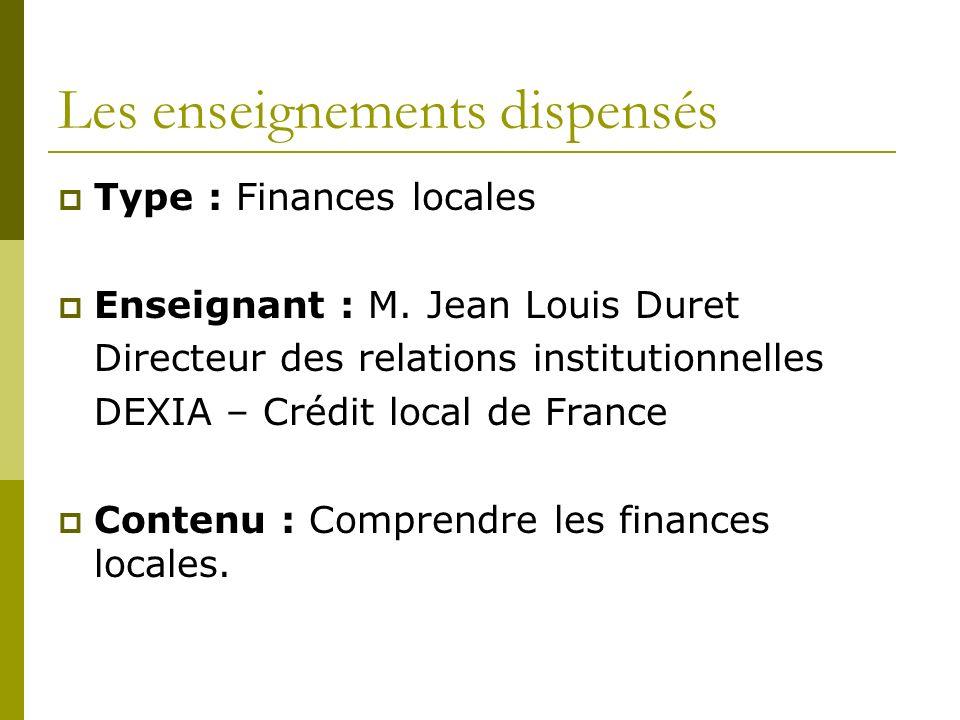 Les enseignements dispensés Type : Finances locales Enseignant : M.