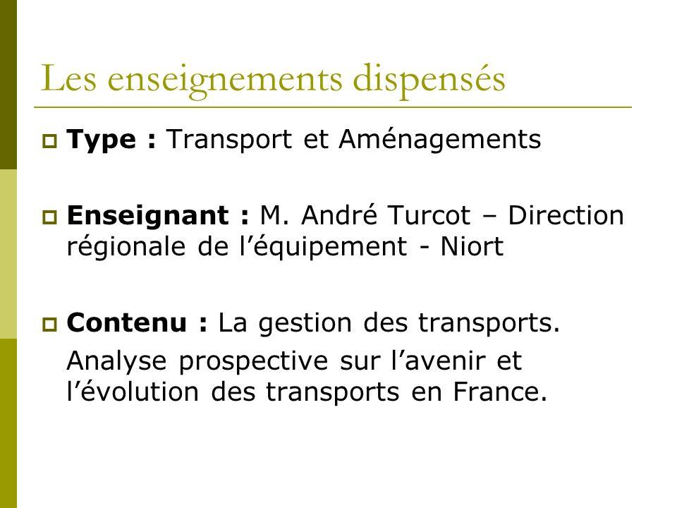 Les enseignements dispensés Type : Transport et Aménagements Enseignant : M.