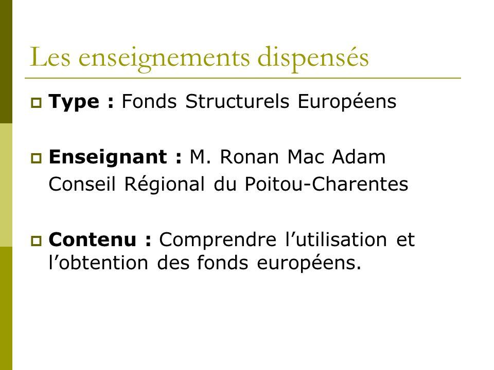 Les enseignements dispensés Type : Fonds Structurels Européens Enseignant : M.
