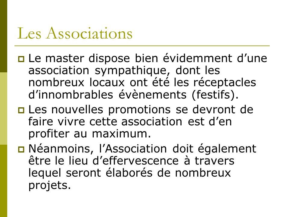 Les Associations Le master dispose bien évidemment dune association sympathique, dont les nombreux locaux ont été les réceptacles dinnombrables évènements (festifs).