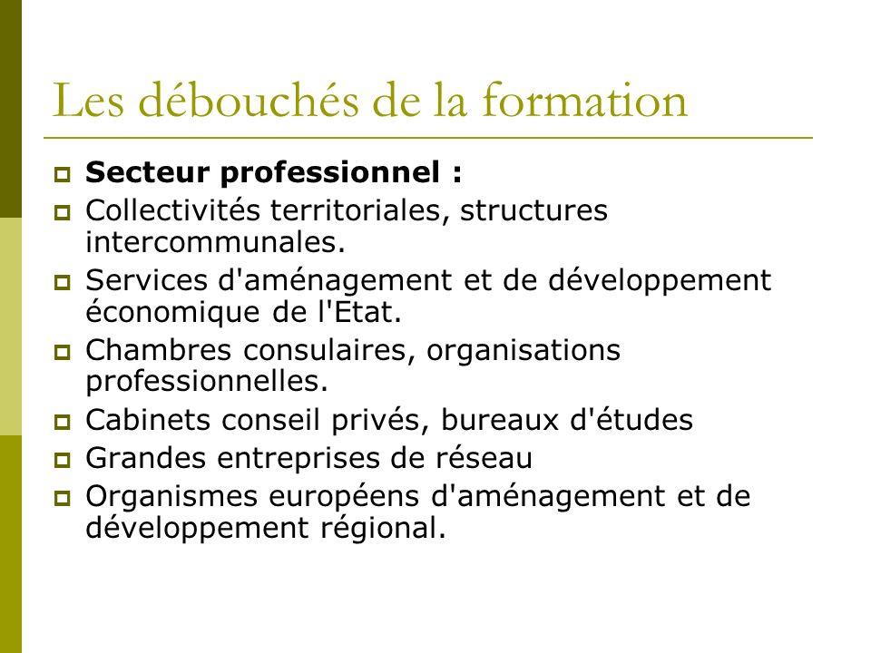 Les débouchés de la formation Secteur professionnel : Collectivités territoriales, structures intercommunales.