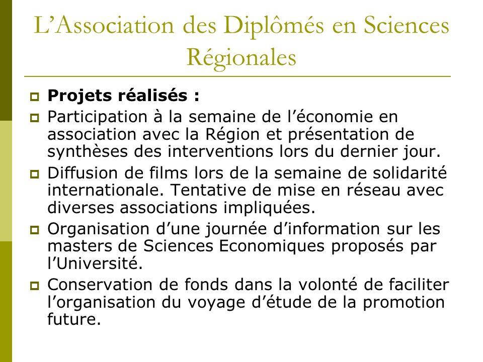 LAssociation des Diplômés en Sciences Régionales Projets réalisés : Participation à la semaine de léconomie en association avec la Région et présentation de synthèses des interventions lors du dernier jour.