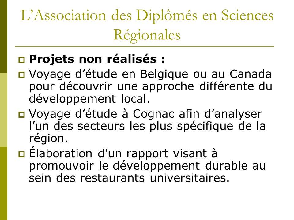 LAssociation des Diplômés en Sciences Régionales Projets non réalisés : Voyage détude en Belgique ou au Canada pour découvrir une approche différente du développement local.