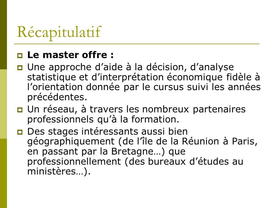 Récapitulatif Le master offre : Une approche daide à la décision, danalyse statistique et dinterprétation économique fidèle à lorientation donnée par le cursus suivi les années précédentes.