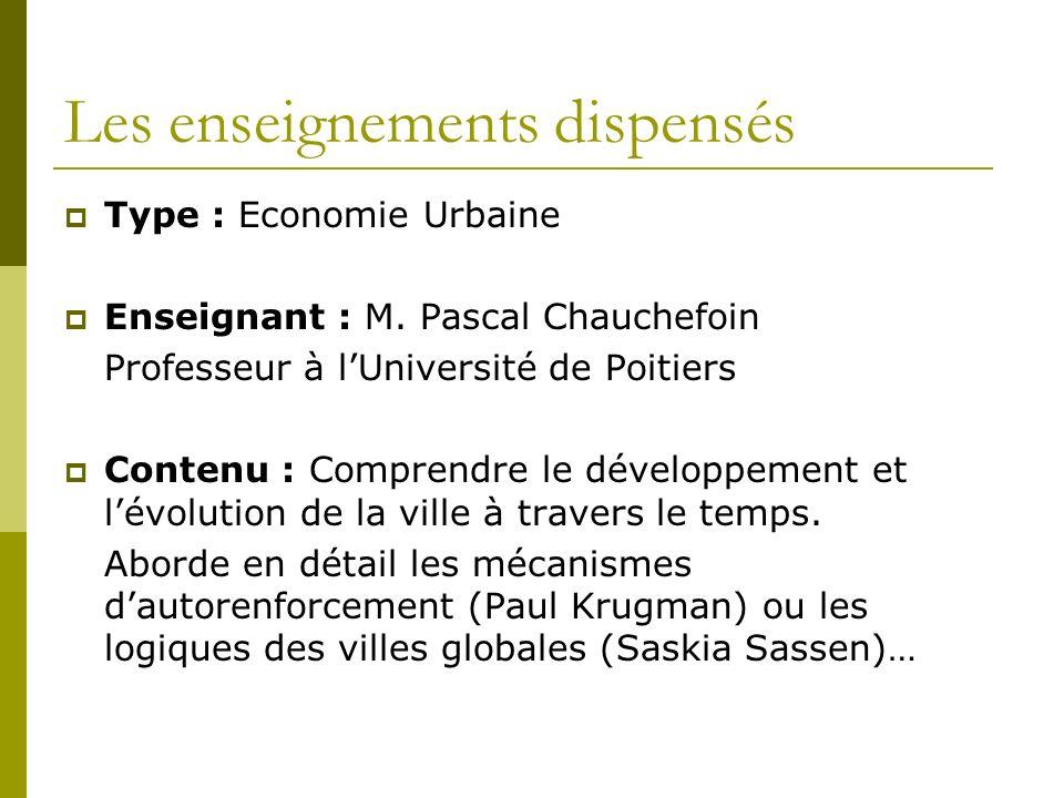 Les enseignements dispensés Type : Economie Urbaine Enseignant : M.
