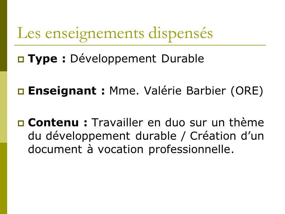 Les enseignements dispensés Type : Développement Durable Enseignant : Mme.