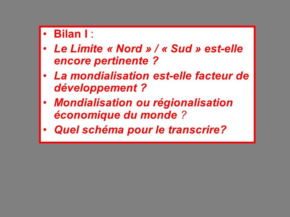 Bilan I : Le Limite « Nord » / « Sud » est-elle encore pertinente ? La mondialisation est-elle facteur de développement ? Mondialisation ou régionalis