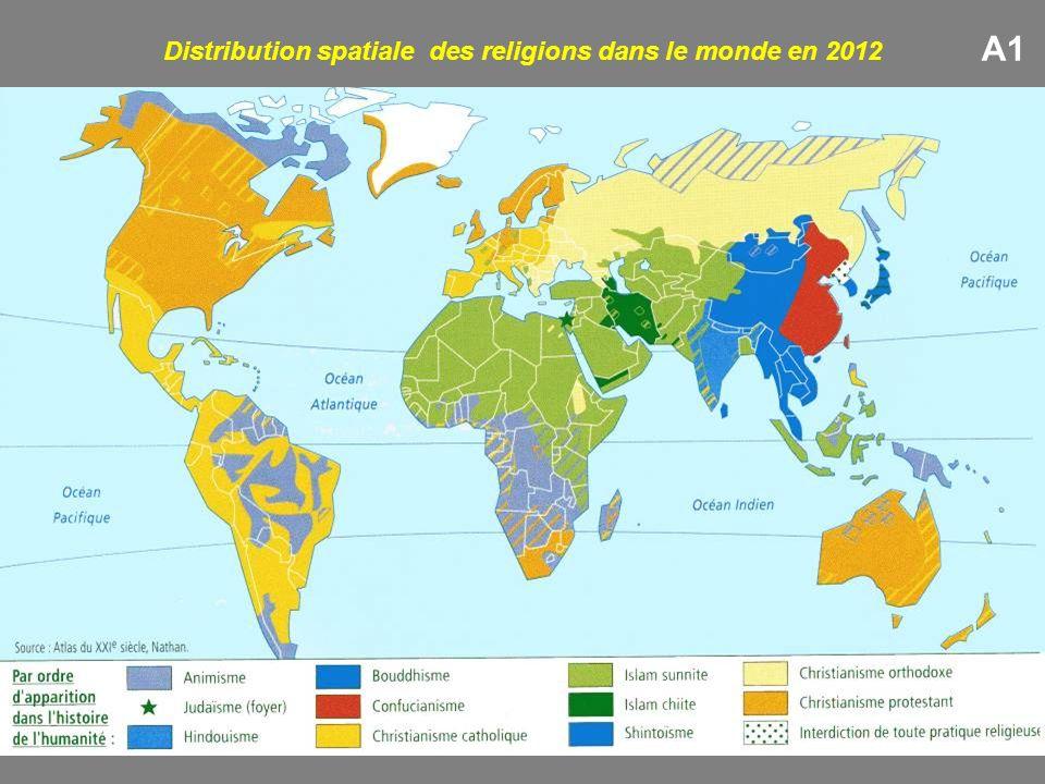 A1 Distribution spatiale des religions dans le monde en 2012