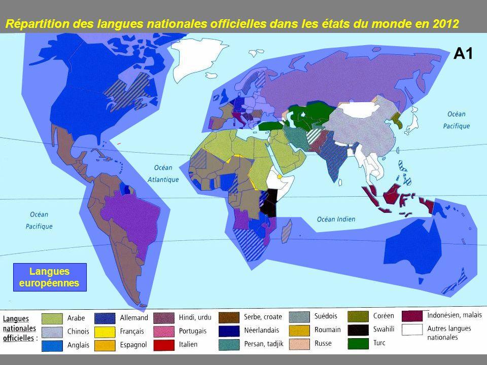 Répartition des langues nationales officielles dans les états du monde en 2012 A1 Langues européennes