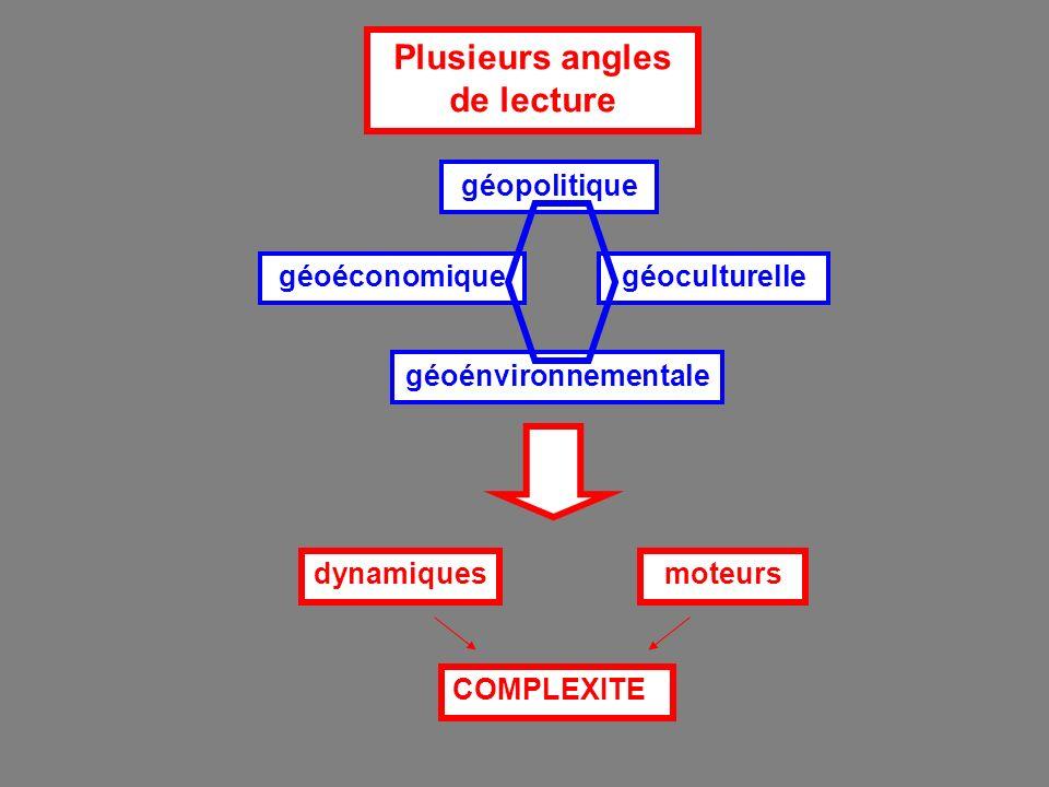 Plusieurs angles de lecture géoéconomique géopolitique géoénvironnementale géoculturelle dynamiquesmoteurs COMPLEXITE