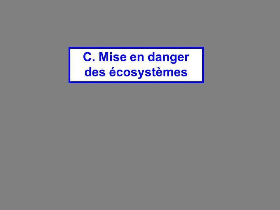 C. Mise en danger des écosystèmes