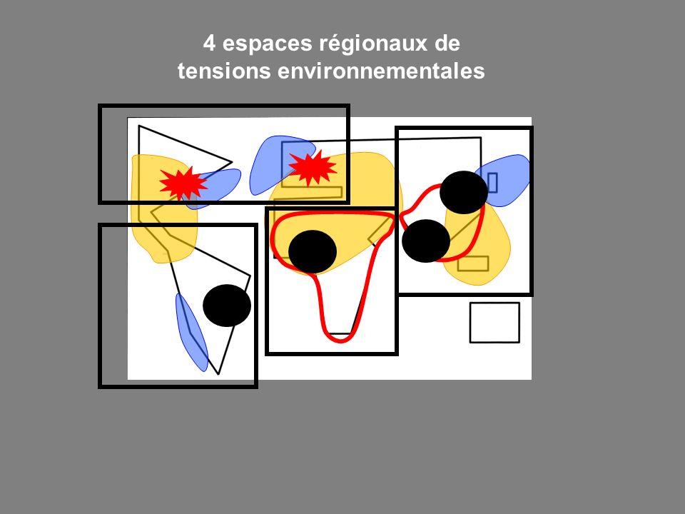 4 espaces régionaux de tensions environnementales