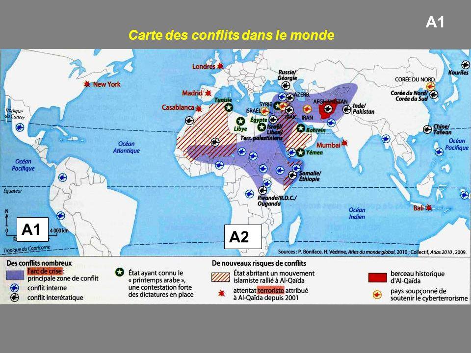Carte des conflits dans le monde A1 A2 A1