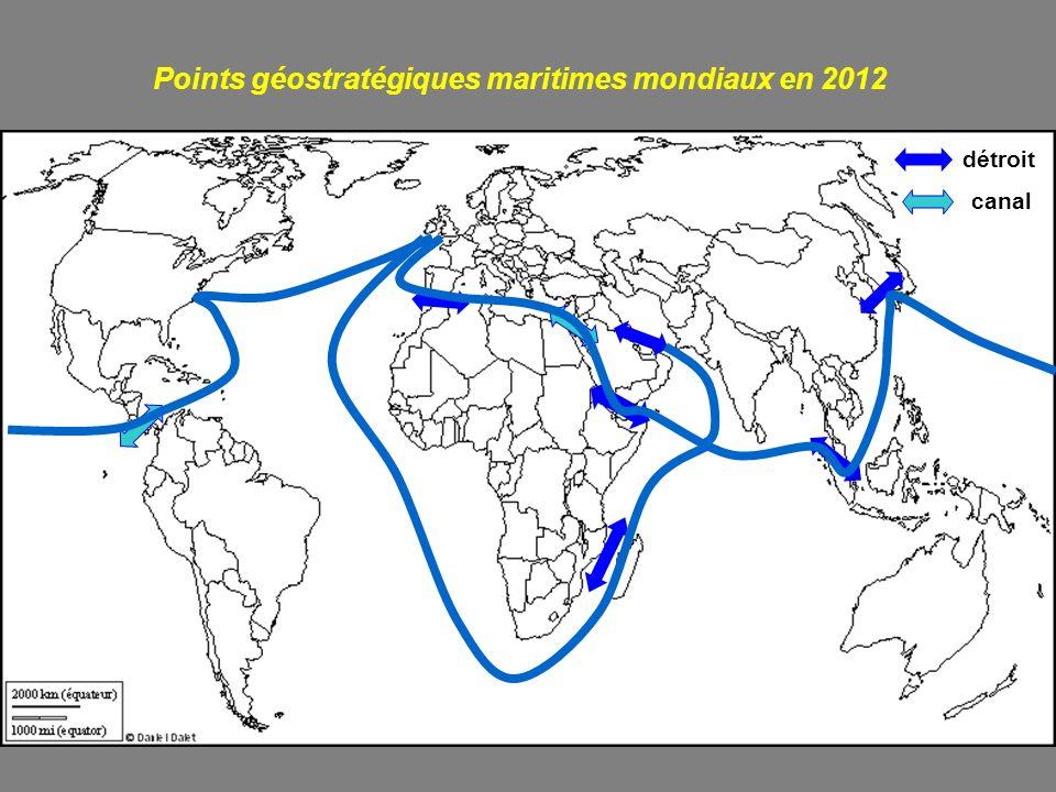 Points géostratégiques maritimes mondiaux en 2012 détroit canal