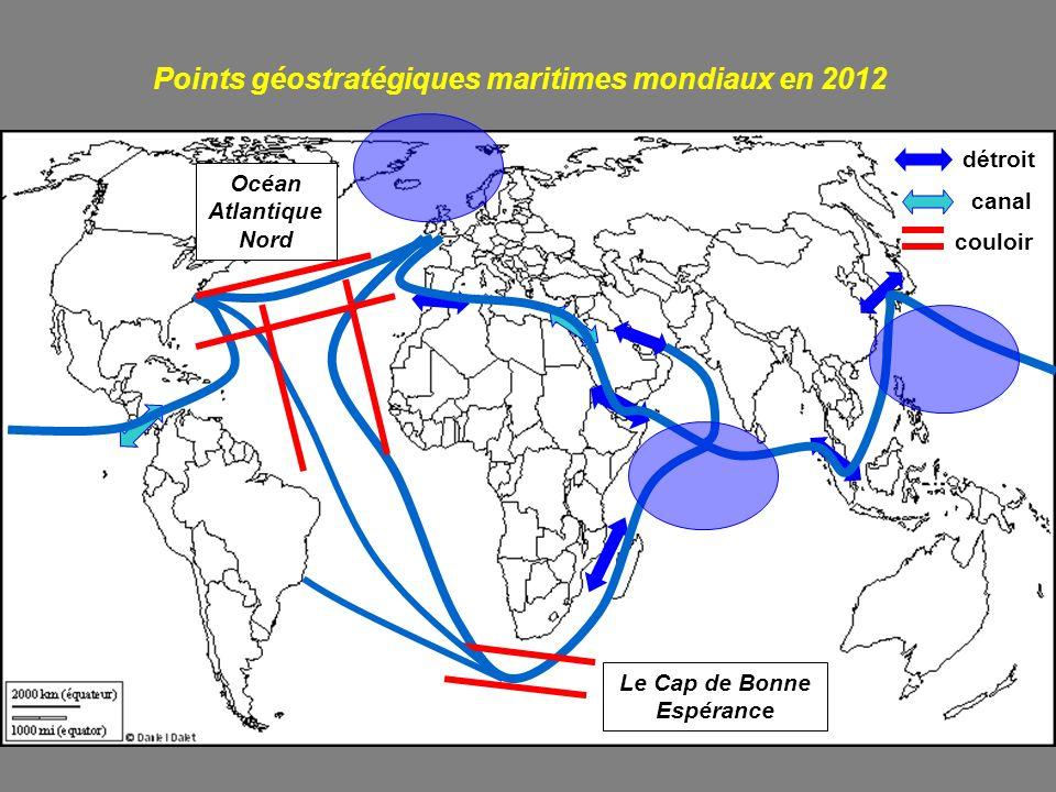 Points géostratégiques maritimes mondiaux en 2012 détroit canal Le Cap de Bonne Espérance couloir Océan Atlantique Nord