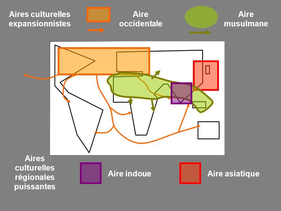 Aires culturelles expansionnistes Aire occidentale Aire musulmane Aires culturelles régionales puissantes Aire indoueAire asiatique