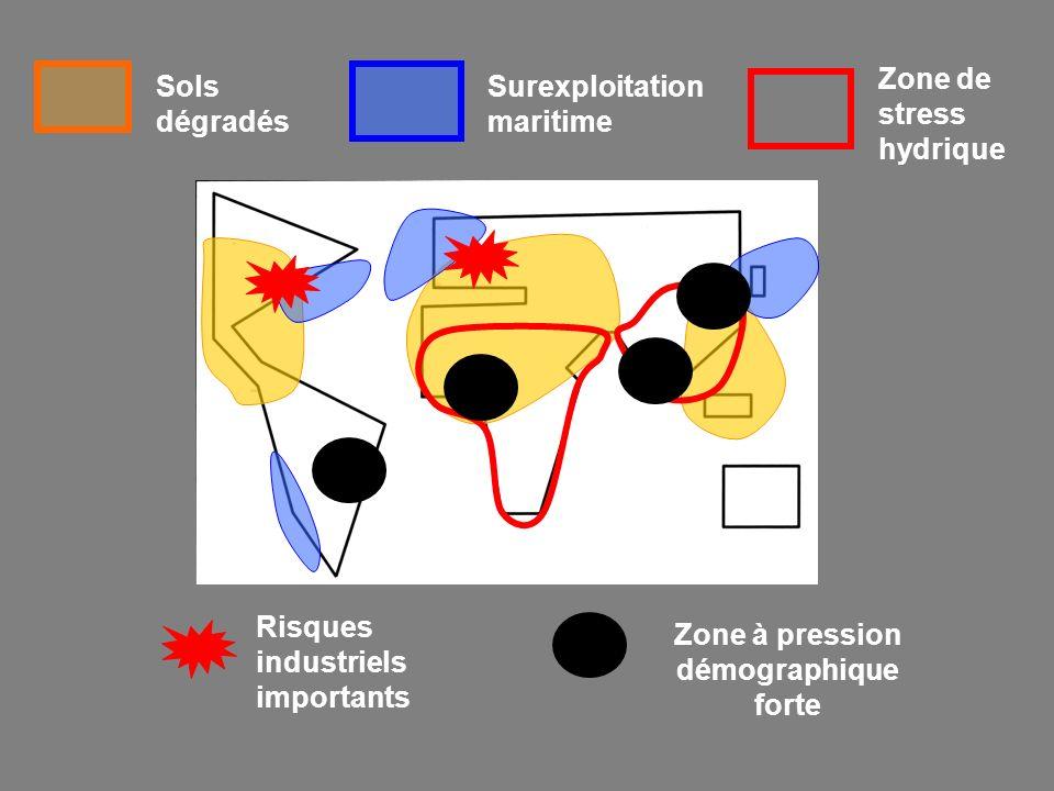 Sols dégradés Surexploitation maritime Zone de stress hydrique Risques industriels importants Zone à pression démographique forte