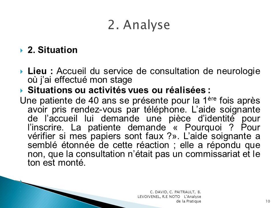 2. Situation Lieu : Accueil du service de consultation de neurologie où jai effectué mon stage Situations ou activités vues ou réalisées : Une patient