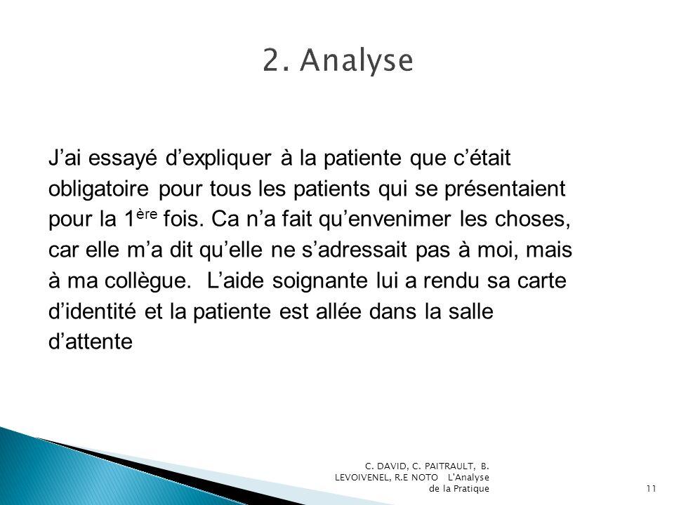 Jai essayé dexpliquer à la patiente que cétait obligatoire pour tous les patients qui se présentaient pour la 1 ère fois.