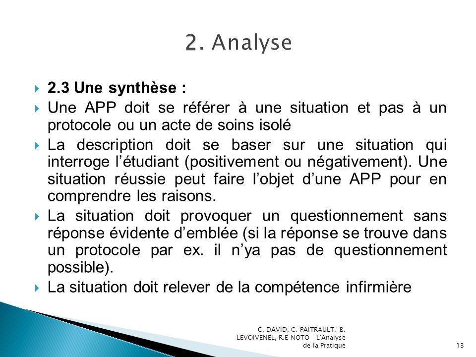 2.3 Une synthèse : Une APP doit se référer à une situation et pas à un protocole ou un acte de soins isolé La description doit se baser sur une situation qui interroge létudiant (positivement ou négativement).