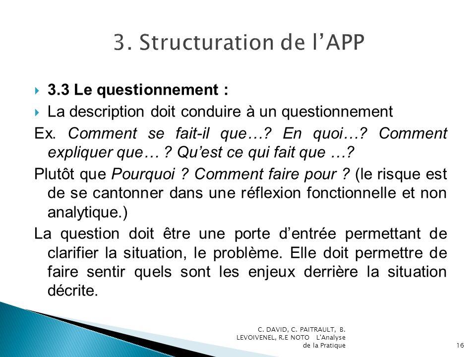 3.3 Le questionnement : La description doit conduire à un questionnement Ex. Comment se fait-il que…? En quoi…? Comment expliquer que… ? Quest ce qui