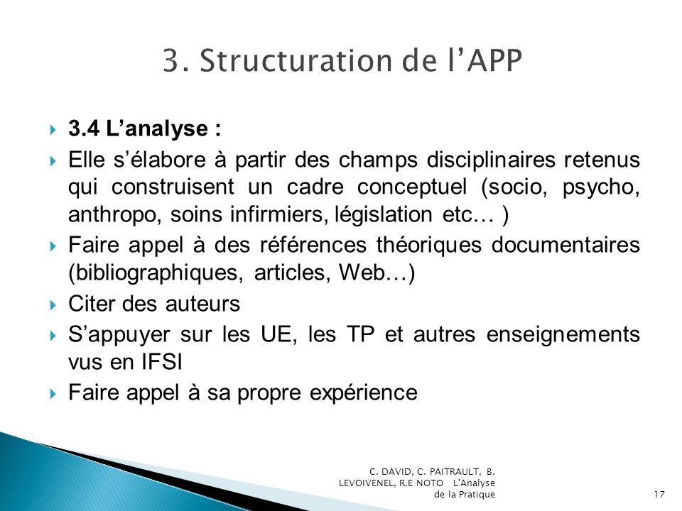 3.4 Lanalyse : Elle sélabore à partir des champs disciplinaires retenus qui construisent un cadre conceptuel (socio, psycho, anthropo, soins infirmier