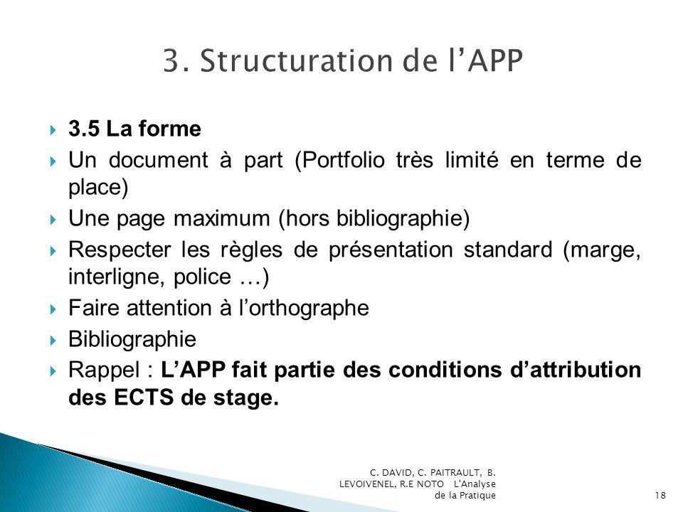 3.5 La forme Un document à part (Portfolio très limité en terme de place) Une page maximum (hors bibliographie) Respecter les règles de présentation s