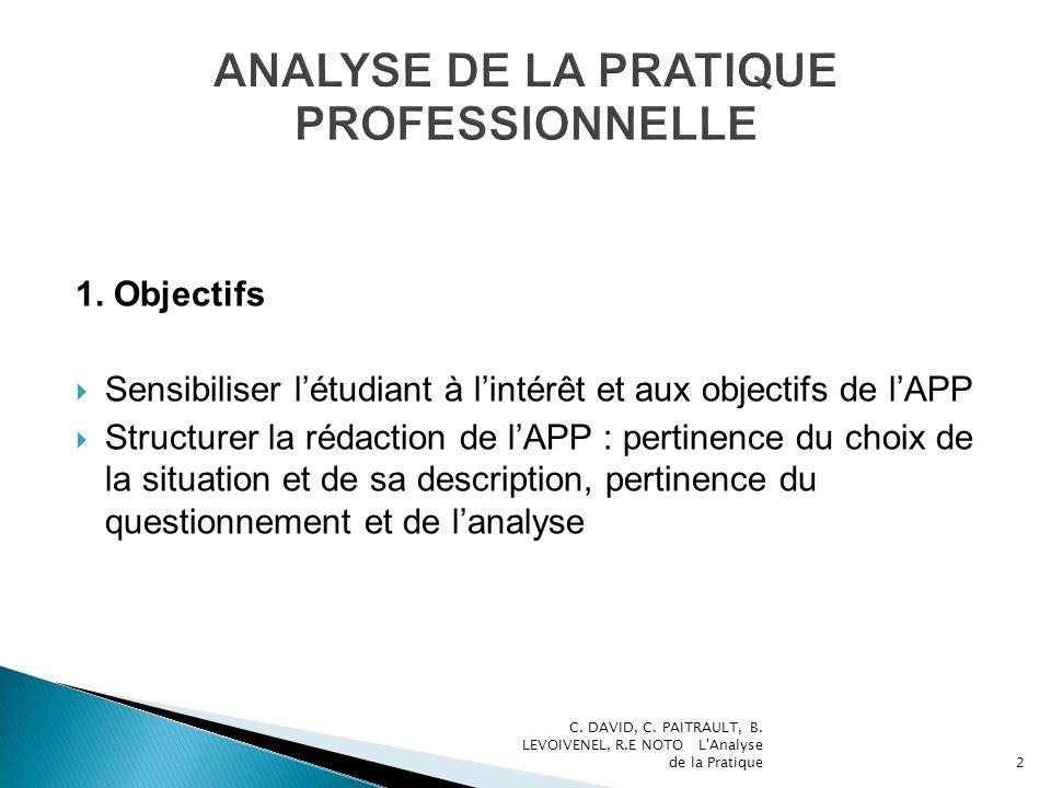 1. Objectifs Sensibiliser létudiant à lintérêt et aux objectifs de lAPP Structurer la rédaction de lAPP : pertinence du choix de la situation et de sa
