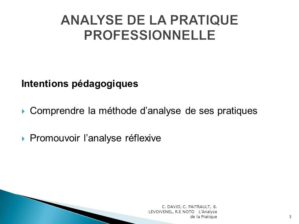 Intentions pédagogiques Comprendre la méthode danalyse de ses pratiques Promouvoir lanalyse réflexive C. DAVID, C. PAITRAULT, B. LEVOIVENEL, R.E NOTO