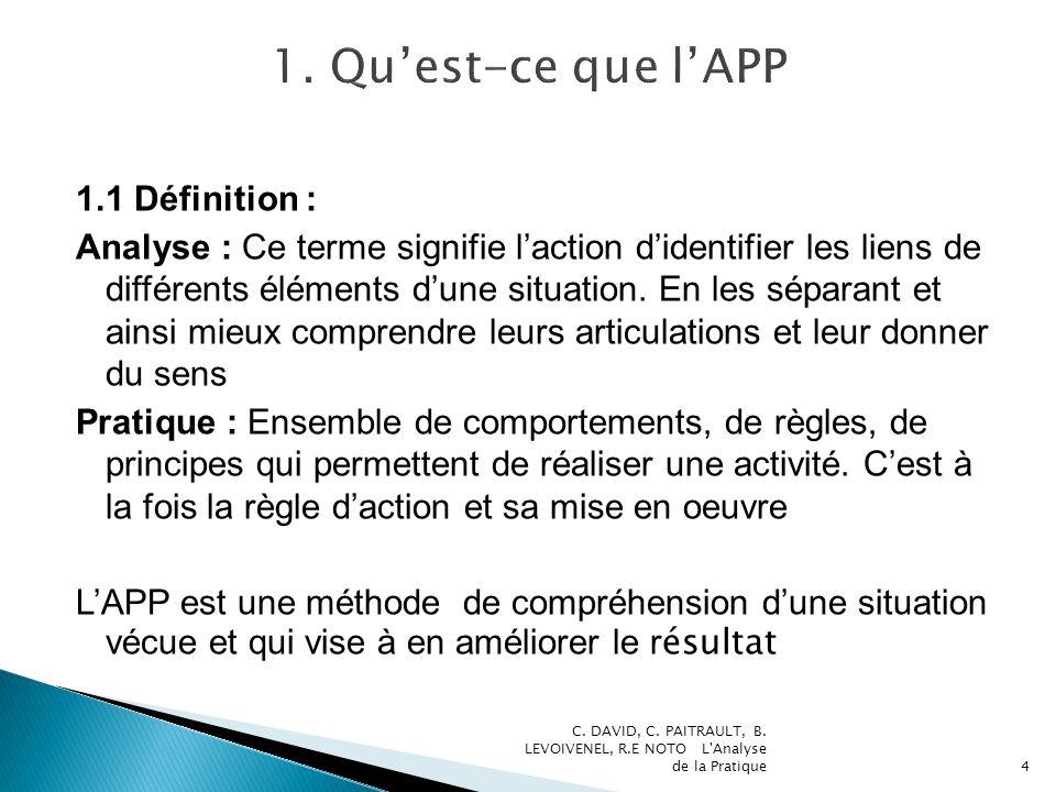 1.1 Définition : Analyse : Ce terme signifie laction didentifier les liens de différents éléments dune situation. En les séparant et ainsi mieux compr