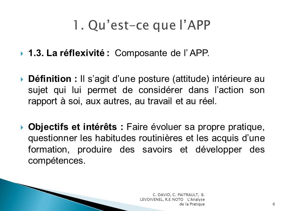 1.3. La réflexivité : Composante de l APP. Définition : Il sagit dune posture (attitude) intérieure au sujet qui lui permet de considérer dans laction