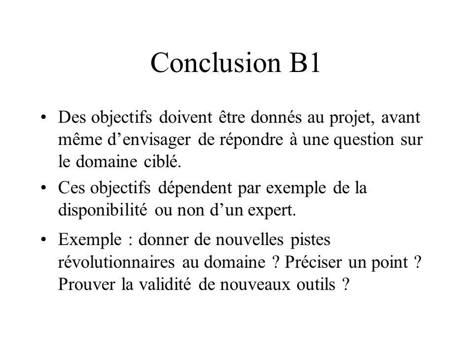 Conclusion B1 Des objectifs doivent être donnés au projet, avant même denvisager de répondre à une question sur le domaine ciblé. Ces objectifs dépend