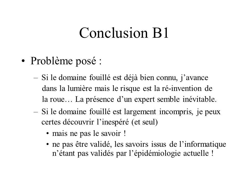 Conclusion B1 Problème posé : –Si le domaine fouillé est déjà bien connu, javance dans la lumière mais le risque est la ré-invention de la roue… La présence dun expert semble inévitable.
