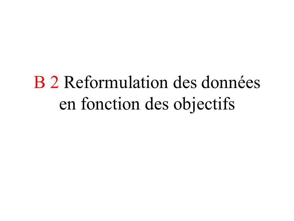 B 2 Reformulation des données en fonction des objectifs