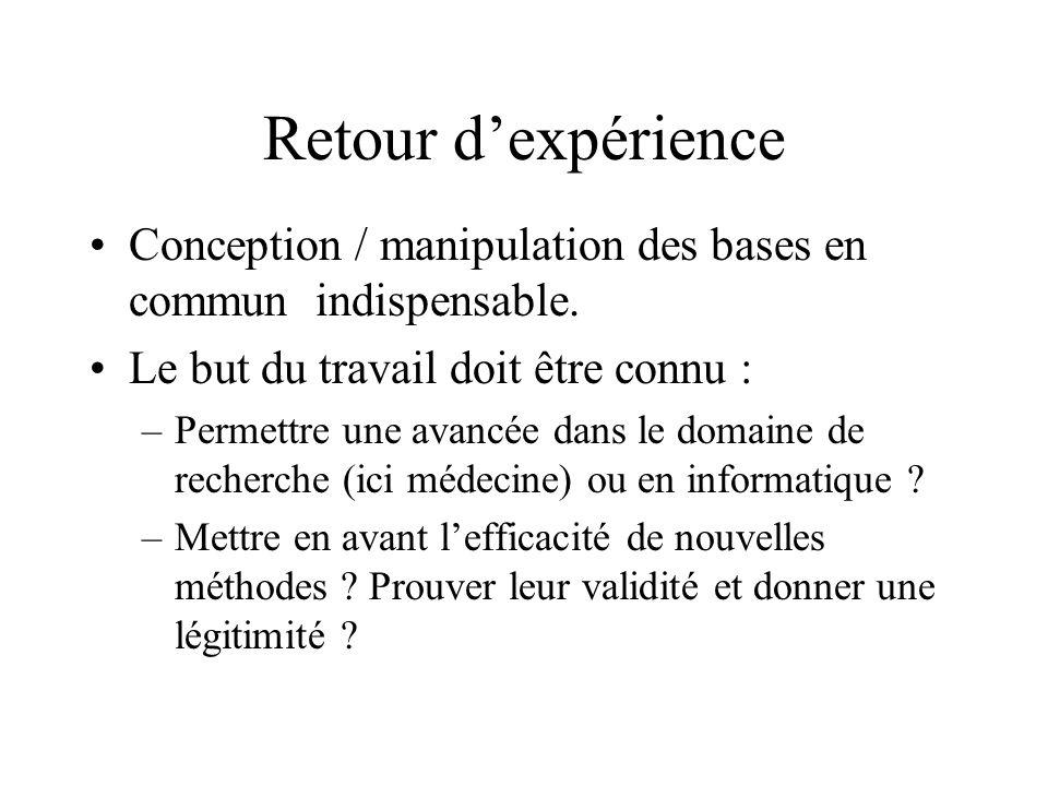 Retour dexpérience Conception / manipulation des bases en commun indispensable. Le but du travail doit être connu : –Permettre une avancée dans le dom