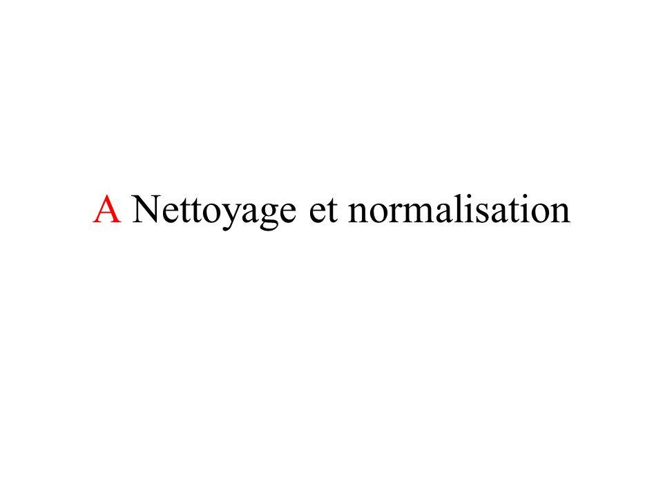 A Nettoyage et normalisation