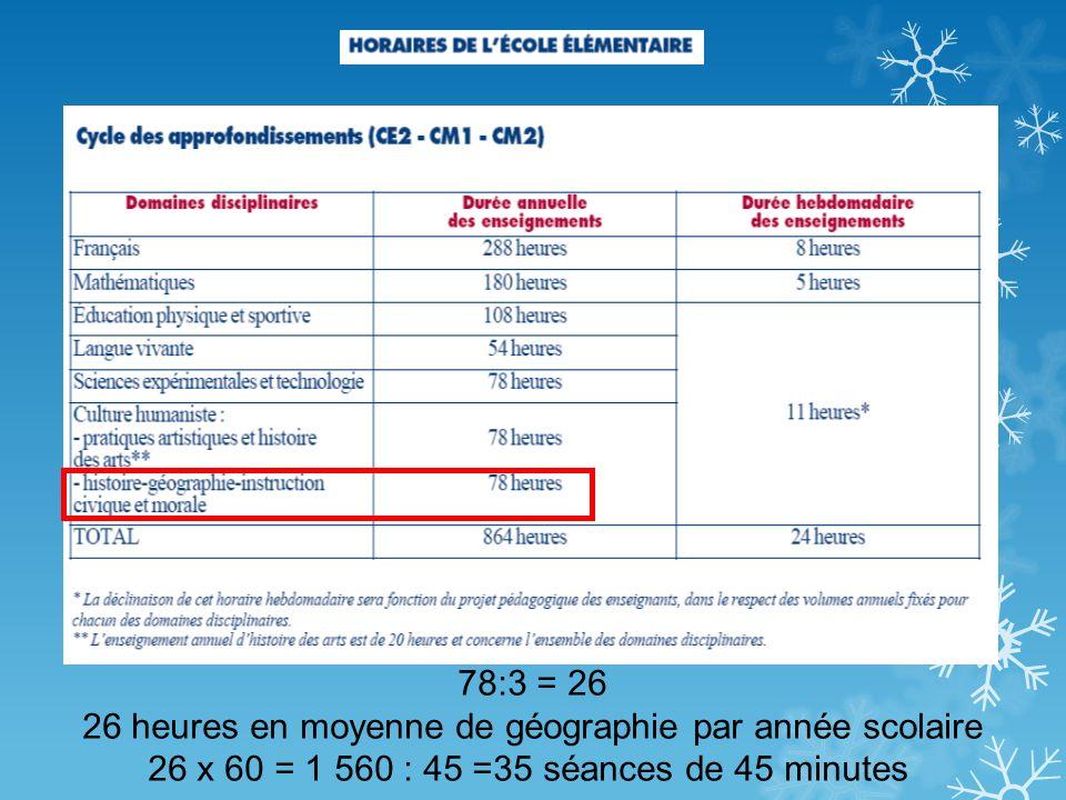 78:3 = 26 26 heures en moyenne de géographie par année scolaire 26 x 60 = 1 560 : 45 =35 séances de 45 minutes