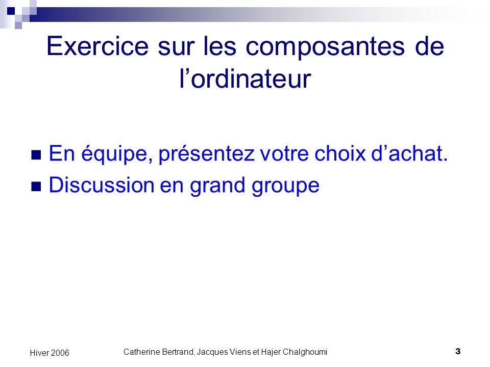 Catherine Bertrand, Jacques Viens et Hajer Chalghoumi24 Hiver 2006 Rendre le Web accessible Accessibilité Technologies daide Règles de la WAI A lordinateur Au Web
