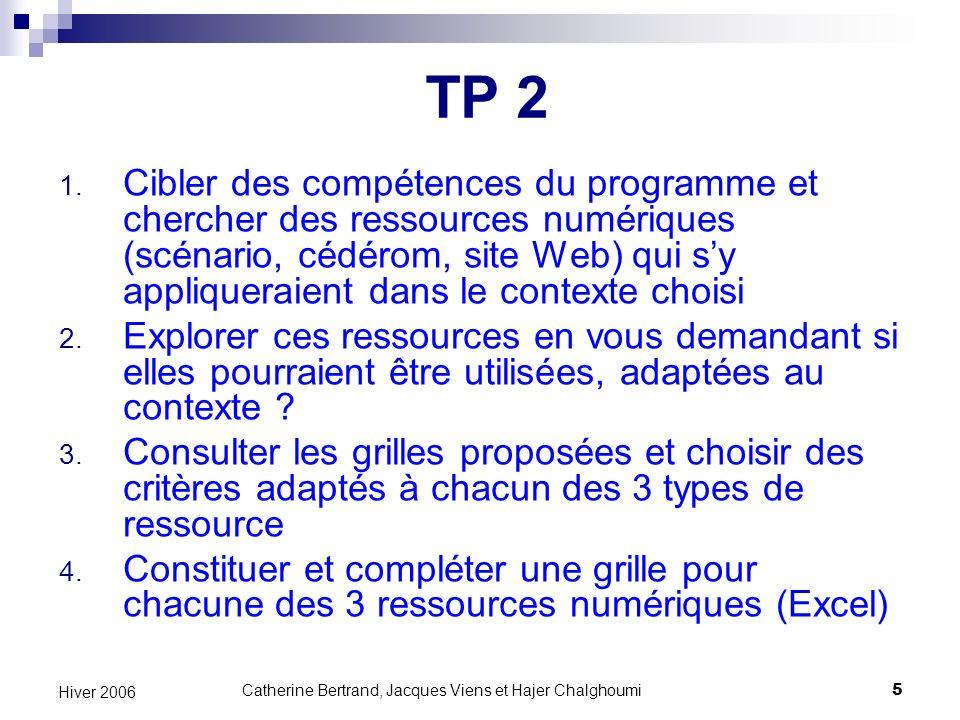 Catherine Bertrand, Jacques Viens et Hajer Chalghoumi36 Hiver 2006 Quelques exemples…