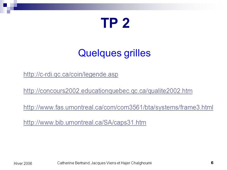 Catherine Bertrand, Jacques Viens et Hajer Chalghoumi17 Hiver 2006 Exemples de sites web Ville de Montréal Université de Montréal