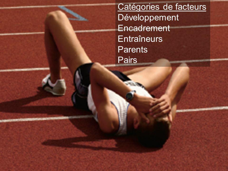 Catégories de facteurs Développement Encadrement Entraîneurs Parents Pairs