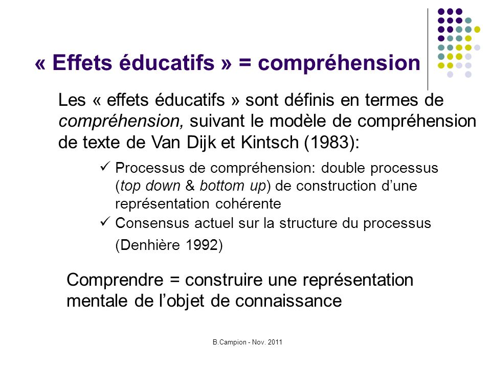 B.Campion - Nov. 2011 « Effets éducatifs » = compréhension Processus de compréhension: double processus (top down & bottom up) de construction dune re