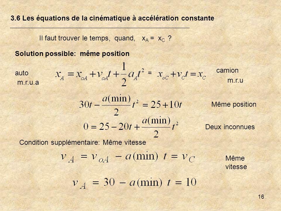 16 3.6 Les équations de la cinématique à accélération constante Il faut trouver le temps, quand, x A = x C ? m.r.u.a m.r.u Solution possible: même pos