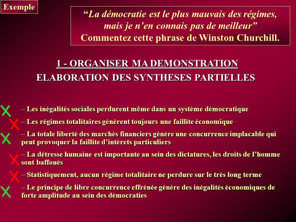 Exemple La démocratie est le plus mauvais des régimes, mais je nen connais pas de meilleur Commentez cette phrase de Winston Churchill.